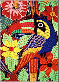 birds of panama mola from the collection 'for the love of panama', by kathleen  oth��n