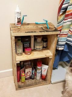 If there is nothing in the bathroom to place the items of use like the shampoo and spray, then here is the idea to create storage space in the bathroom. As many shelves can be added as required according to the number of items need to be placed in it.