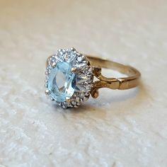Vintage Antique Aquamarine Diamond Halo Engagement Ballerina Ring in 9k Yellow Gold by CypressCreekVintage on Etsy https://www.etsy.com/listing/256943863/vintage-antique-aquamarine-diamond-halo