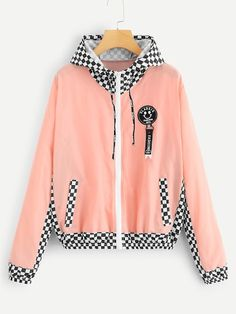 Plaid Panel Zip Up Hooded JacketFor Women-romwe Cute Jackets, Jackets For Women, Clothes For Women, Women's Jackets, Crop Top Outfits, Cute Outfits, Hipster School Outfits, Quirky Fashion, Kawaii Clothes