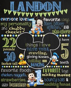 Baby Mickey Mouse Birthday Chalkboard Poster DIGITAL FILE ONLY-- NOTHING SHIPS This item is customizable. Colors and characters can be changed! Every poster has a black chalkboard background which has a few white scuffs like a real chalkboard would, if you would rather have a solid