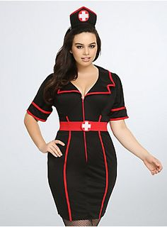 <p>When it's time to check the temperature after dark, don this sexy Night Nurse costume that features: a zipper-front dress, stretch belt and matching first aid headband hat.