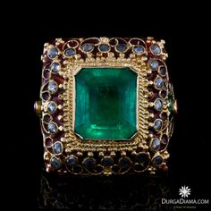 Colombian Emerald 5.70 ct Diamond Ruby Antique Ring | Rings | DurgaDiama.com