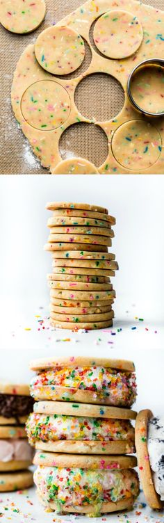 Deliciously soft and sprinkle funfetti sugar cookies with ice cream! These rainbow ice cream cookie sandwiches are so much fun! Use any flavor ice cream! Recipe on sallysbakingaddiction.com