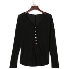 Black Button Detail Long Sleeve T-shirt ($21) ❤ liked on Polyvore featuring tops, t-shirts, long cotton tops, longsleeve t shirts, cotton tee, long length t shirts and long t shirts
