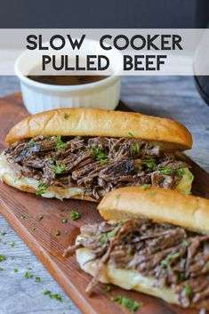 May 2020 - Slow Cooker Pulled Beef is a savory, tender recipe for your french dip sandwiches or sliders, or to eat by itself! Includes an easy au jus dipping sauce recipe. Slow Cooker Tikka Masala, Roast Beef Recipes, Meat Recipes, Recipes Dinner, Yummy Recipes, Recipies, Slow Cooker Beef, Slow Cooker Recipes, Slow Cooker Shredded Beef