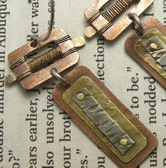 Mixed Metal Belt Buckle Earrings by solivio - Art Jewelry Magazine