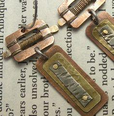 Mixed Metal Belt Buckle Earrings by solivio - Art Jewelry Magazine