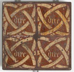 Tiles Date: 14th–15th century Culture: Dutch Medium: Earthenware, glaze Dimensions: Overall: 9 7/16 x 9 5/16 x 1 9/16 in. (23.9 x 23.6 x 4 cm)