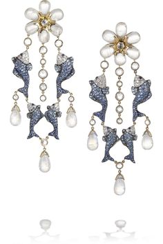 Lydia Courteille 18-karat gold moonstone, sapphire and diamond earrings