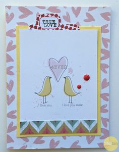I LOVE YOU MORE | CARD, by Suz Mannecke using the Notebook collection from www.cocoadaisy.com #cocoadaisy #scrapbooking #kitclub #cards #love #stamping #DITL