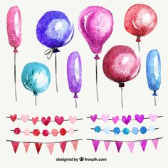 ピンクの色調で水彩画の風船や花輪 無料ベクター