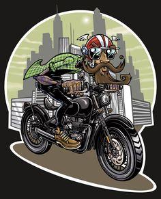 Motorcycle Types, Motorcycle Art, Retro Scooter, Bike Drawing, Hawaiian Art, Lightning Mcqueen, Cartoon Art, Concept Art, Art Drawings