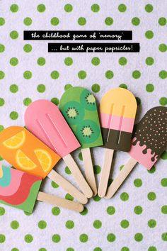 DIY Paper Popsicle Memory Game (I like the idea of just making the popsicles with my first graders) Popsicle Party, Popsicle Stick Crafts, Popsicle Sticks, Craft Stick Crafts, Kids Crafts, Summer Crafts, Craft Projects, Preschool Crafts, Project Ideas