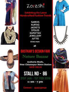 Our Stall 86 is ready! Soak in the sun with Zoyashi at The Design Fair at Nature Bazaar, Andheria Modh, Near Chattarpur Metro Station New Delhi. #ExhibitionsInDelhi #DesignFair #Dastkar #Handlooms #Promote #HandmadeWithLove #MadeInIndia #Apparel #IndianWear