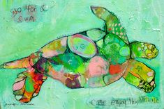 Jennifer Mercede Art.  Tortoise/Turtle swimming.