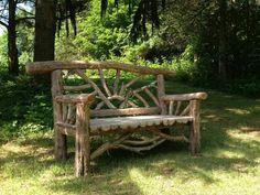 Rustic cedar bench.