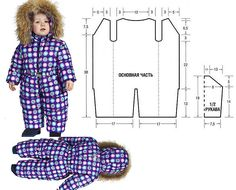 Snowsuit for child Baby Girl Dress Patterns, Baby Clothes Patterns, Clothing Patterns, Sewing Kids Clothes, Doll Clothes, Baby Boy Outfits, Kids Outfits, Bebe 1 An, Mix And Match Fashion