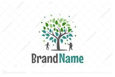 Happy Childhood Logo Education Logo Design, Plant Logos, Owl Logo, Horse Logo, Tree Logos, Construction Logo, Premium Logo, Baby Mermaid, Nature Plants