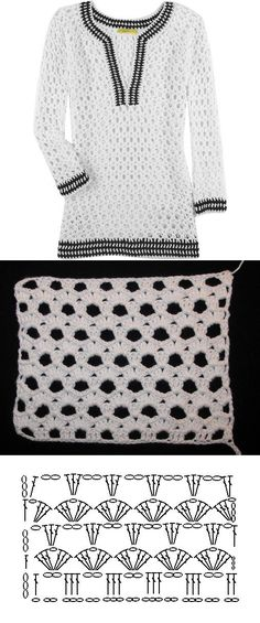 Sweter largo a crochet