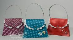 April 26, 2012 Dawns stamping thoughts Stampin'Up! Demonstrator:    Scallop Petite Purse Quick tip video ...flap/scallops ..