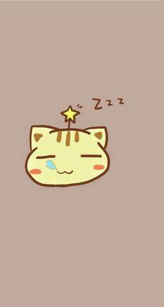 Sleeping Kitty. Tap to see 8 Cartoon Sleepy Animals Zzz Wallpapers - @mobile9 #cute #chibi #cartoon