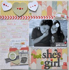 """TERESA COLLINS DESIGN TEAM: """"But she's a girl"""" layout using He Said~She Said by Suzanne Sergi"""