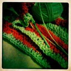 I'm actually done with this scarf I need to upload a more recent picture. Final product looks better :))) #24goingon60