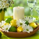 What a cute centerpiece idea for my kitchen! I want to do yellow and blue, with a lemon theme!