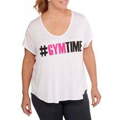 Fitspiration Women's Plus 'Gym Time' Short Sleeve V-Neck Active Graphic T-Shirt