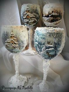 Christmas Home Decor DIY Decoupage Candle & Tea light holder Glass Bottle Crafts, Diy Bottle, Bottle Art, Bottle Holders, Diy Decoupage Candles, Decoupage Glass, Decorated Wine Glasses, Painted Wine Glasses, Handmade Christmas Decorations