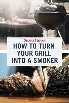Don't have a smoker? Learn how to build a DIY smoker from your grill with our 6 step tutorial and how to smoke the perfect steak. This is an easy method to smoke your favorite meat outdoors for your summer backyard barbecue! Pork Rib Recipes, Grilling Recipes, Grilling Ideas, Grilled Pork Chops, Grilled Meat, Diy Smoker, Omaha Steaks, Bbq Pork Ribs, Perfect Steak