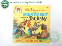 In this story clever Brer Rabbit outwits Brer Fox and Brer Bear in their attempts to catch and eat him for their dinner!  Walt Disney Presents The Story of Brer Rabbit and the Tar Baby MCMLXXI (1971) Walt Disney Productions, MCMLXXVII (1977) printing paperback 24 numbered pages Please note that this book DOES NOT come with a tape or record. Only the book is listed. This vintage Brer Rabbit book is in good used condition. There is moderate wear to the edges and corners plus some additional…