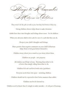 Self Esteem in Children