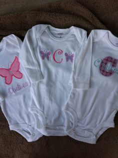 Infant  Baby Girl  Set of 3 Onesies  Monogrammed  by Rubyandoliver, $46.00