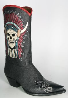 Cowboy Boots with skulls for men  | ... By Boots 5757 Caborca Cowboystiefel schwarz Indian Cowboy skulls - Men