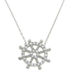 Loving this Sterling Silver Pave Nautical Wheel Necklace on #zulily! #zulilyfinds