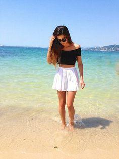 Luster Skater Skirt | Beach life | Blue beach | Summer days | Black crop top | Crop top | Skater Skirt Outfit