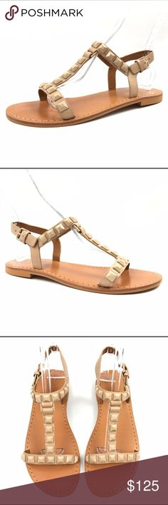 Tory Burch Sandals 9 Ankle Strap Flats Tan Buckle T Strap Tory Burch Shoes Sandals