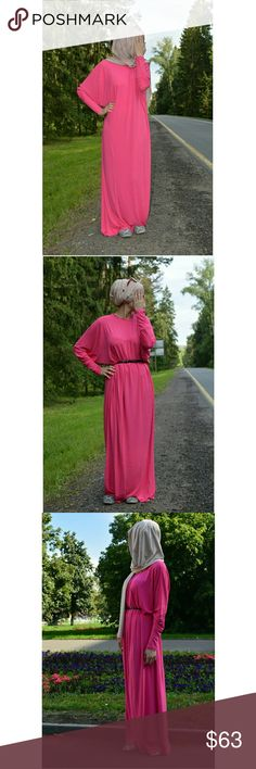 """NWOT Pink Abaya / Maxi Dress Brand new pretty pink abaya  Oversize Pink Jersey Abaya Dress  Length approx. 56"""" Wide approx. 29""""  Size: one size fits all Fabric: 100% Cotton Batwing sleeves for a loose fit High neck Abaya-Dress is convenient for prayer Suitable for pregnant sisters  Belt and hijab not included  Also available in beige color!  Tags: volatile sleeve, Dress-Abaya, Dress Abaya, bat sleeve, oversize, batman sleeves, wudu, wudhu, loose cut, hijab, hijabi, Muslim, Islam, Islamic…"""
