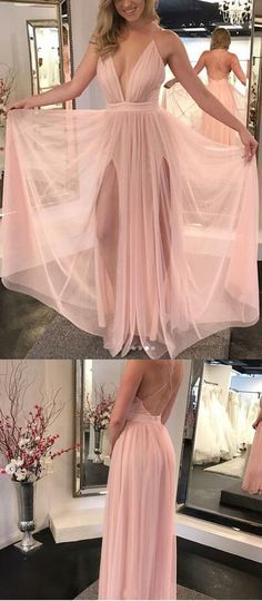 Elegant A-Line Deep V-Neck Sleeveless Pink Floor Length Prom/Evening Dress