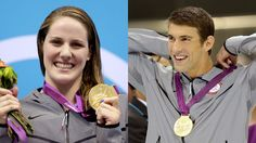 Team USA's Missy Franklin and Michael Phelps accept their gold medals for the women's 200m backstroke and men's 100m butterfly