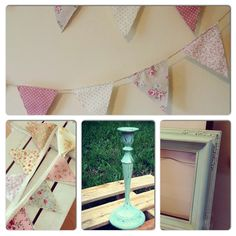 DIY Candlestick painting , frame painting, sewing vintage shabby chic pattern print fabric bunting, painting old pallet white