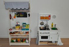Play Kitchen and Market stall. > Materials: Rast nightstand, Attest handles, Ribba picture ledge, plywood, screws, steamer bowls, faucet, paint, plexi, hinges and lots of small things