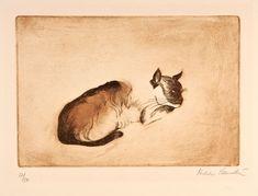 "Hilda Bernstein (London, 15 May 1915 – 8 September 2006) ""Cat"" Etching"