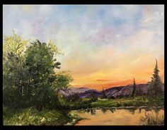 Evening Glow – Original Oil Painting, Bob Ross Inspired, Oil Painting On Stretched Canvas - Malerei Kunst Watercolor Landscape, Abstract Landscape, Watercolor Paintings, Bob Ross Landscape, Landscape Oil Paintings, Oil Painting Trees, Lake Painting, Pastel Landscape, Landscape Edging