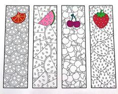 Printable Zentangle Bookmarks Page 4 Scribble & Stitch - fruits fruit oranges lemons watermelon cherries strawberries simple cute kids activity food summer Printable Coloring Pages, Coloring For Kids, Coloring Pages For Kids, Coloring Sheets, Adult Coloring, Coloring Books, Free Printable Bookmarks, Bookmark Template, Pattern