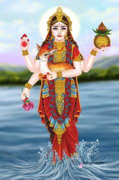 Mata hiran nadi painting by on DeviantArt Kali Hindu, Krishna Hindu, Radha Krishna Pictures, Durga Maa, Shiva Shakti, Goddess Art, Durga Goddess, Libra Sign Tattoos, Kali Tattoo