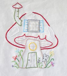 Embroidery Mushroom House - love the little mouse