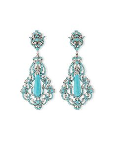 Large Silver-Plated Pendant Clip Earrings w/ Turquoise by Jose & Maria Barrera at Neiman Marcus.